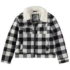 Παιδικά - Καρό μπουφάν με επένδυση από sherpa και τσέπες