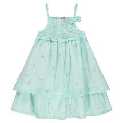 Φόρεμα με λεπτές τιράντες, βολάν και εμπριμέ μοτίβο με χρυσαφί φοίνικες