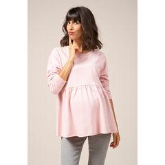 Φανελένιο εβαζέ φούτερ εγκυμοσύνης σε απαλό ροζ
