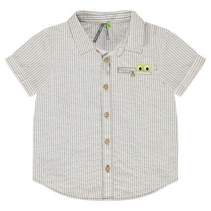Κοντομάνικο πουκάμισο με φαντεζί ρίγες και τσέπη με φάσα σε σχήμα κροκόδειλου