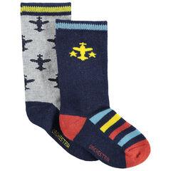 Σετ 2 ζευγάρια κάλτσες με ζακάρ αεροπλανάκια