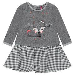 Φόρεμα 2 σε 1 με στάμπα το πάνω μέρος και βολάν στο κάτω μέρος σε μικρό καρό