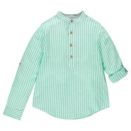 Παιδικά - Μακρυμάνικο πουκάμισο με κάθετες ρίγες και γιακά μάο ... 119a7bf7554