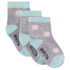 Σετ 3 ζευγάρια κάλτσες με ζακάρ λιοντάρια