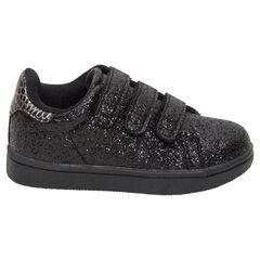 Μαύρα αθλητικά παπούτσια με παγιέτες και τριπλό βέλκρο