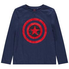 Παιδικά - Μακρυμάνικη μπλούζα από βιολογικό βαμβάκι με τον Κάπτεν Αμέρικα και «μαγικές» πούλιες