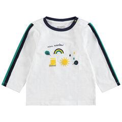 Μακρυμάνικη ζέρσεϊ μπλούζα με λωρίδες σε αντίθεση και διακοσμητικές στάμπες