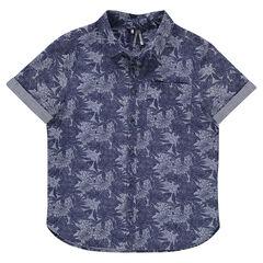 Παιδικά - Κοντομάνικο πουκάμισο με μοτίβο σε χαβανέζικο στιλ σε όλη την επιφάνεια