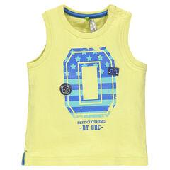 Αμάνικη μπλούζα από βαμβακερό ζέρσεϊ με φαντεζί τύπωμα