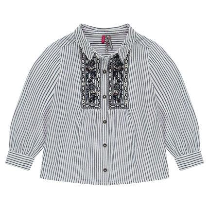 Μακρυμάνικο πουκάμισο με λεπτές ρίγες και κεντήματα