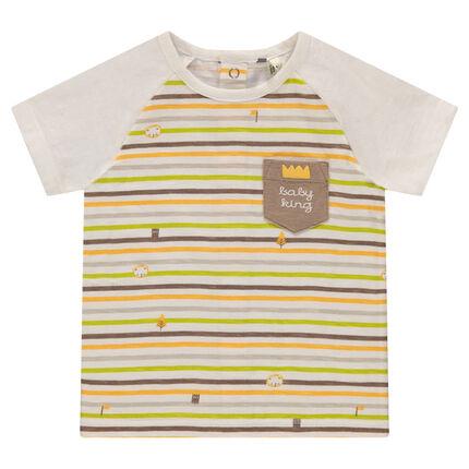 Κοντομάνικη ζέρσεϊ μπλούζα με ρίγες και τυπωμένη τσέπη