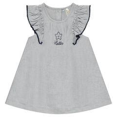 Φόρεμα από σαμπρέ ύφασμα με βολάν και κέντημα