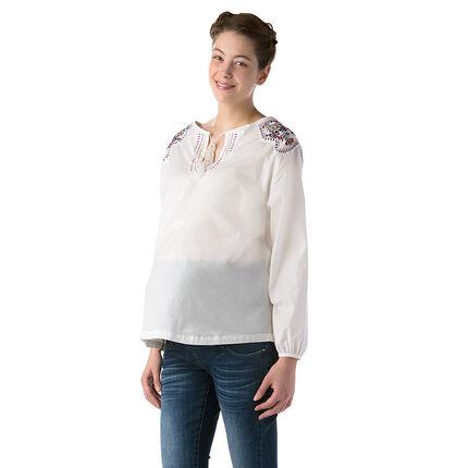 Κεντημένη μπλούζα εγκυμοσύνης από λεπτό βαμβακερό ύφασμα