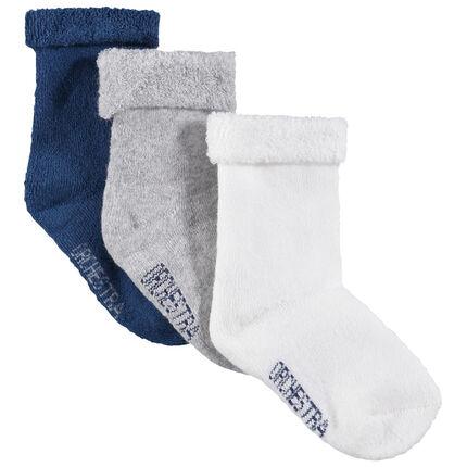 Σετ 3 ζευγάρια μονόχρωμες κάλτσες