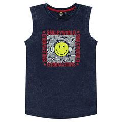Παιδικά - Αμάνικη ζέρσεϊ μπλούζα με κηλίδες στην ύφανση και στάμπα ©Smiley