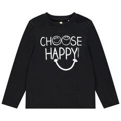 T-shirt manches longues en coton bio print Smiley , Orchestra