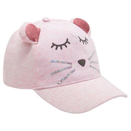 Καπέλο από ζέρσεϊ με αυτάκια με πούλιες και παγιέτες