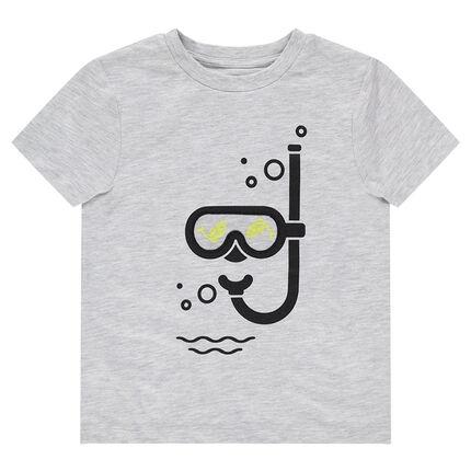 Κοντομάνικη μπλούζα με στάμπα μάσκα και αναπνευστήρα