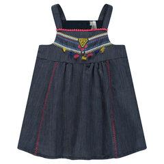 Βαμβακερό φόρεμα με κεντήματα και χρωματιστές φουντίτσες