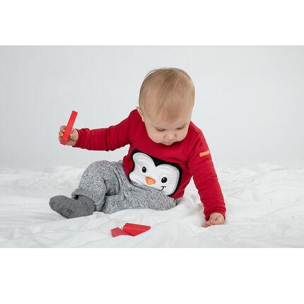 Μονόχρωμο φανελένιο φούτερ με κεντημένο πιγκουίνο