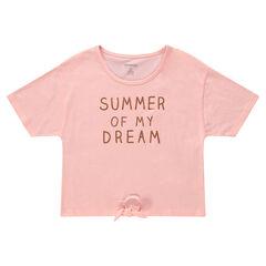 Παιδικά - Κοντομάνικη μπλούζα με τυπωμένο μήνυμα και κορδόνια που δένουν