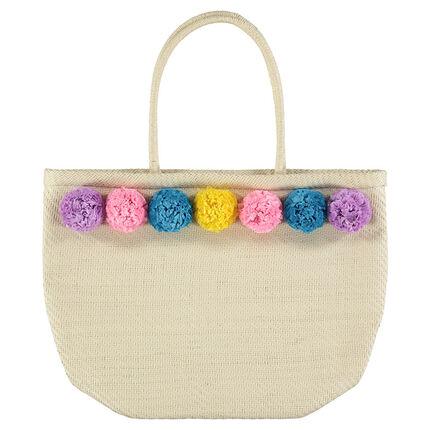 Τσάντα από ψάθα με χρωματιστές φουντίτσες