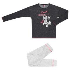 Παιδικά - Μακρυμάνικη δίχρωμη πιτζάμα από φανέλα και ζέρσεϊ