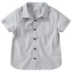 Κοντομάνικο πουκάμισο με κάθετες ρίγες και τσέπη