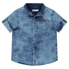 Παιδικά - Τζιν πουκάμισο με ξεβαμμένη εμφάνιση και λογότυπα σε όλη την επιφάνεια