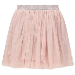 Ροζ φούστα από τούλι με ασημί ζώνη