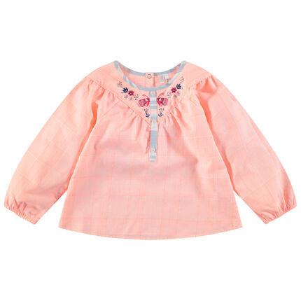 Μπλούζα με καρό και μικρά κεντημένα μοτίβα