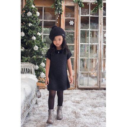 Πλεκτό κοντομάνικο φόρεμα με διακοσμητική πλέξη.