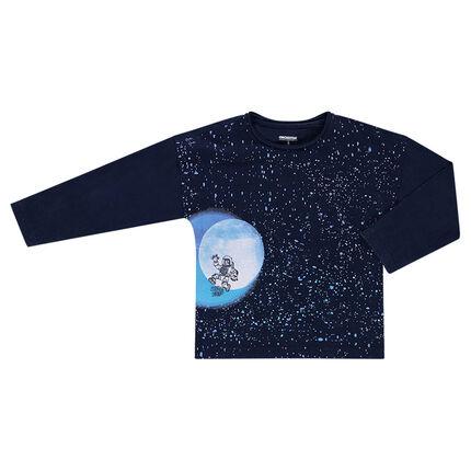 Μακρυμάνικη μπλούζα σε τετράγωνη γραμμή με στάμπα γαλαξία