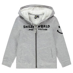 Παιδικά - Ζακέτα με κουκούλα από φανέλα και επένδυση sherpa Smiley