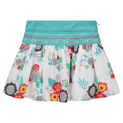 Φούστα με βολάν και λουλουδάτο σχέδιο και χρωματιστά κεντήματα