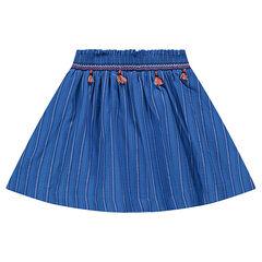 Ριγέ φούστα με σούρες, φουντίτσες και κεντήματα