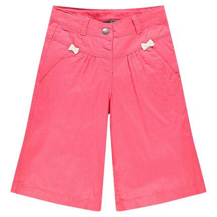 Pantalon large en popeline de coton avec noeuds fantaisie
