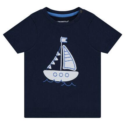 Κοντομάνικη μπλούζα με μπάλωμα καράβι