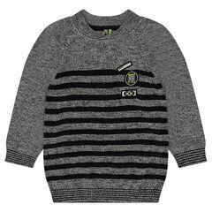 Πλεκτό πουλόβερ μελανζέ με ρίγες και μπαλώματα