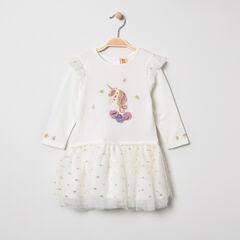 Μακρυμάνικο φόρεμα από δύο υλικά με μονόκερο με παγιέτες και τούλι