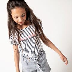 Παιδικά - Κοντομάνικη μπλούζα ριγέ με φράση από «μαγικές» πούλιες