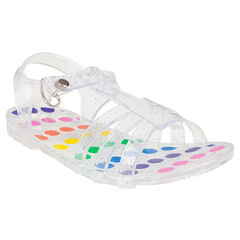 Sandales de plage transparentes pailletées et pois multicolores