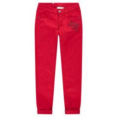 Παιδικά - Μονόχρωμο κόκκινο παντελόνι σε γραμμή slim με λουλούδι με στρας