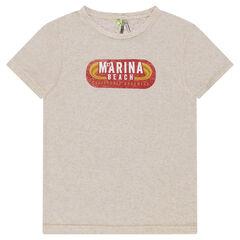 Παιδικά - Κοντομάνικη μελανζέ μπλούζα με στάμπα σε στιλ ρετρό