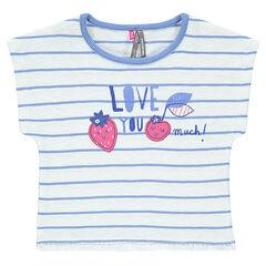 Ριγέ κοντομάνικη μπλούζα με μπαλώματα και κρόσσια