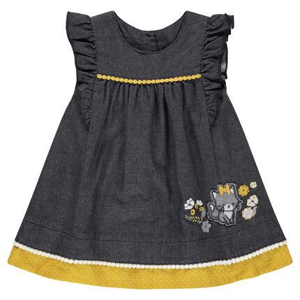 Κοντομάνικο φόρεμα με βολάν και απλικέ μοτίβο γάτα