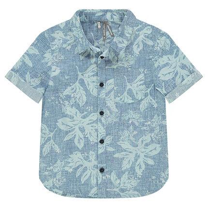 Κοντομάνικο πουκάμισο με εμπριμέ μοτίβο λουλούδια