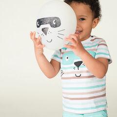 Κοντομάνικη ζέρσεϊ μπλούζα με ρίγες και στάμπα ζωάκι με μάσκα