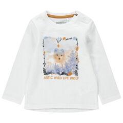 Μακρυμάνικη μπλούζα με φαντεζί ύφανση και τύπωμα λύκο
