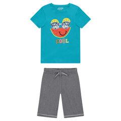 Παιδικά - Σύνολο πιτζάμας με ζέρσεϊ μπλούζα και βερμούδα από λεπτή φανέλα